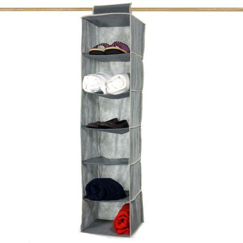 space saver 6 shelf hanging closet organizer 12x12x47 ebay. Black Bedroom Furniture Sets. Home Design Ideas