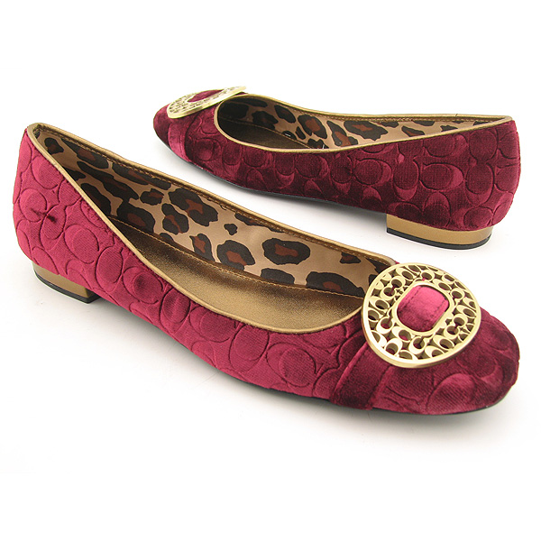 COACH Babs Flats Shoes Red Womens