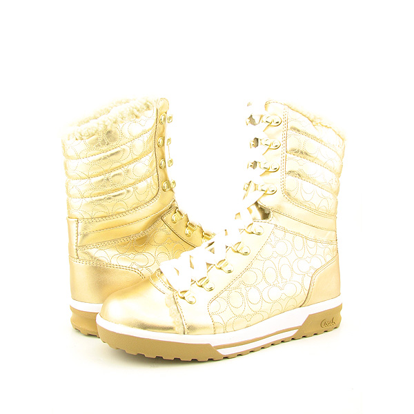 Post image for COACH Tallula Boots Shoes Gold Womens