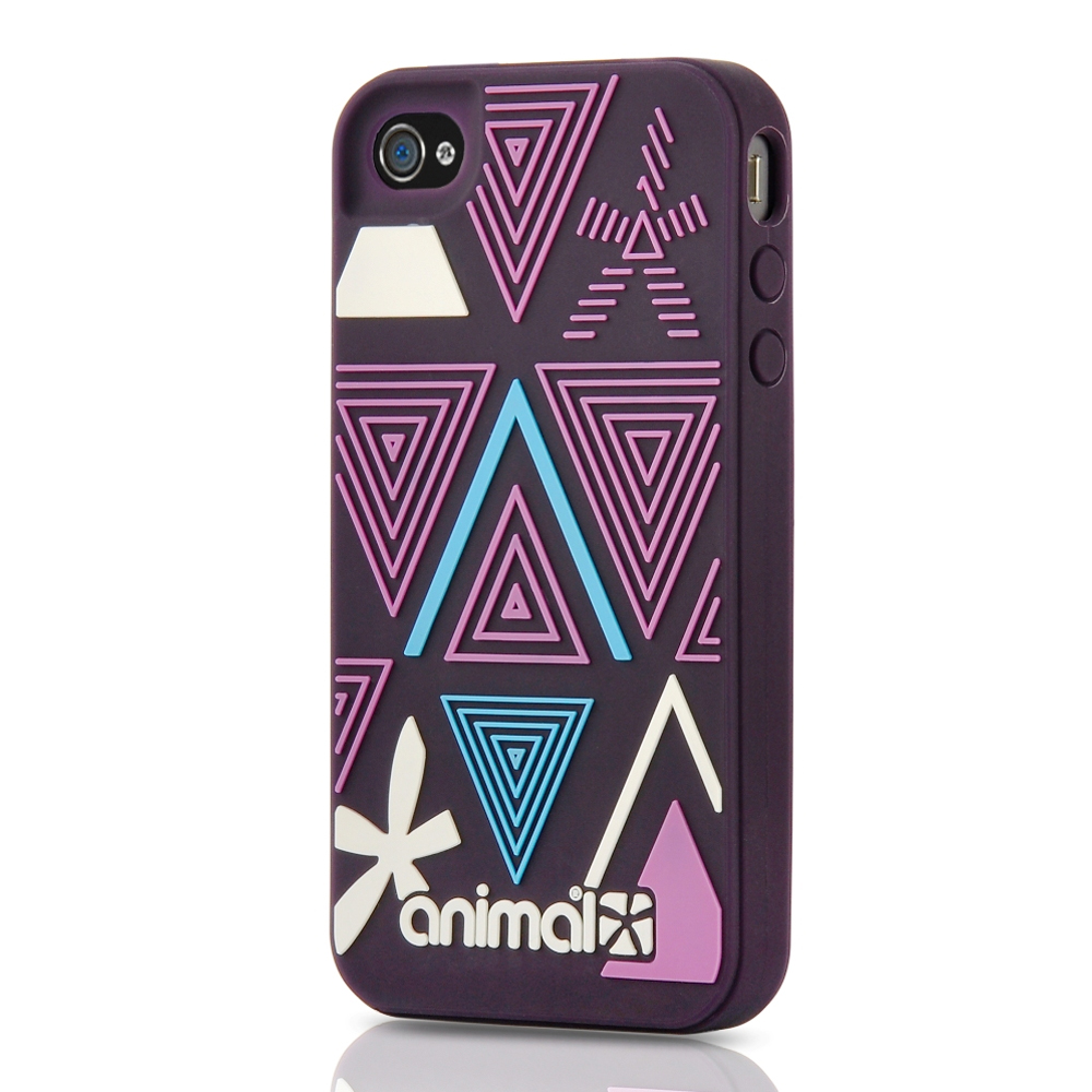 Animal Silicone Owl iPhone 4 Case Plum Purple Triangle Pattern