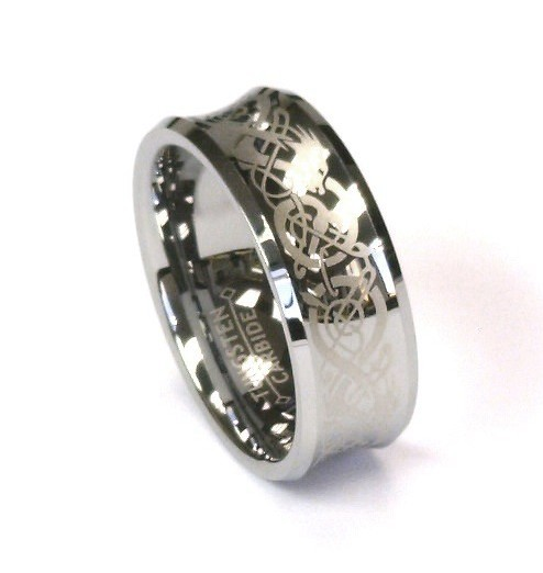 8Mm Silver Celtic Dragon Tungsten Carbide Mens Wedding Band Ring All Sizes