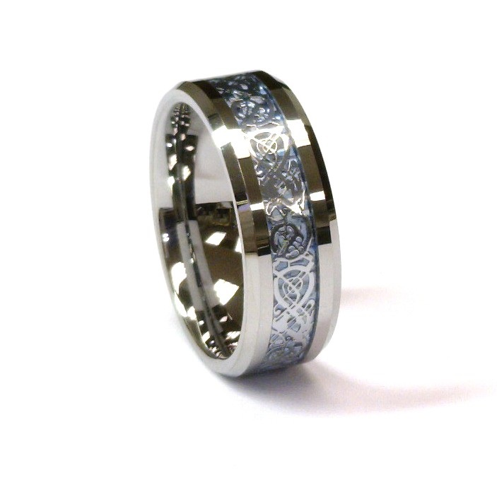 Amz 8mm Tungsten Carbide Ring Silver Celtic Dragon On Sky Mens Wedding Band