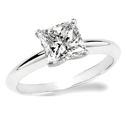 ... Si real diamond Princess cut 14k white gold engagement ring solitaire