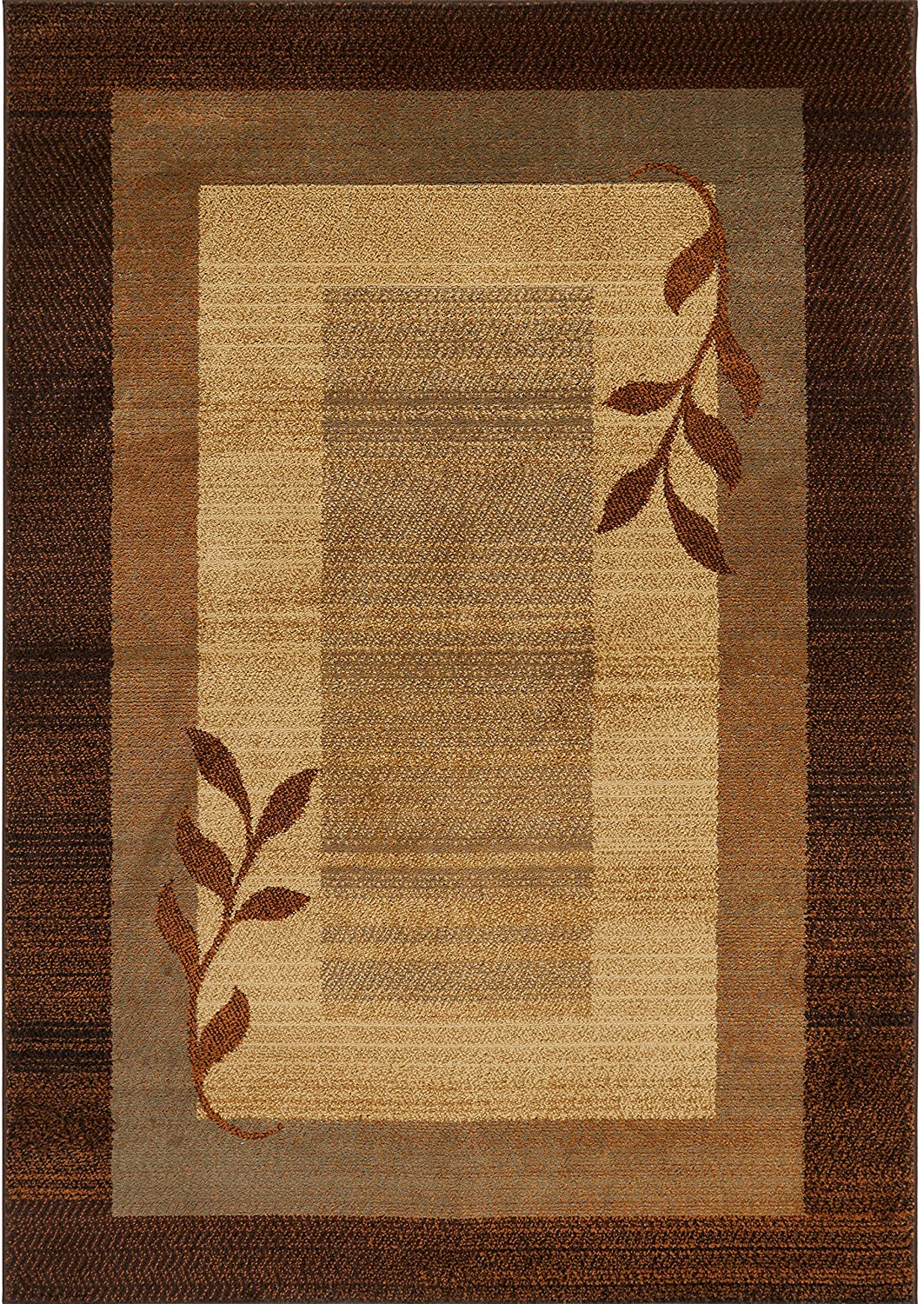 Brown And Blue Patterned Bathroom Rugs: BROWN BLUE STRIPED BORDERED CASUAL AREA RUG MODERN