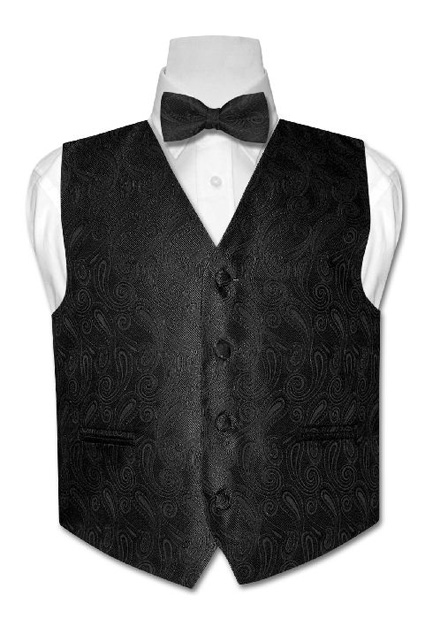 Boys-Vest-with-Bow-Tie-Black-Paisley-Design-Size-10-NEW