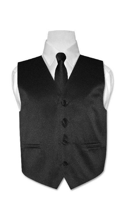 Boys-BLACK-Dress-Vest-with-Boys-Bowtie-Tie-Size-10-NEW