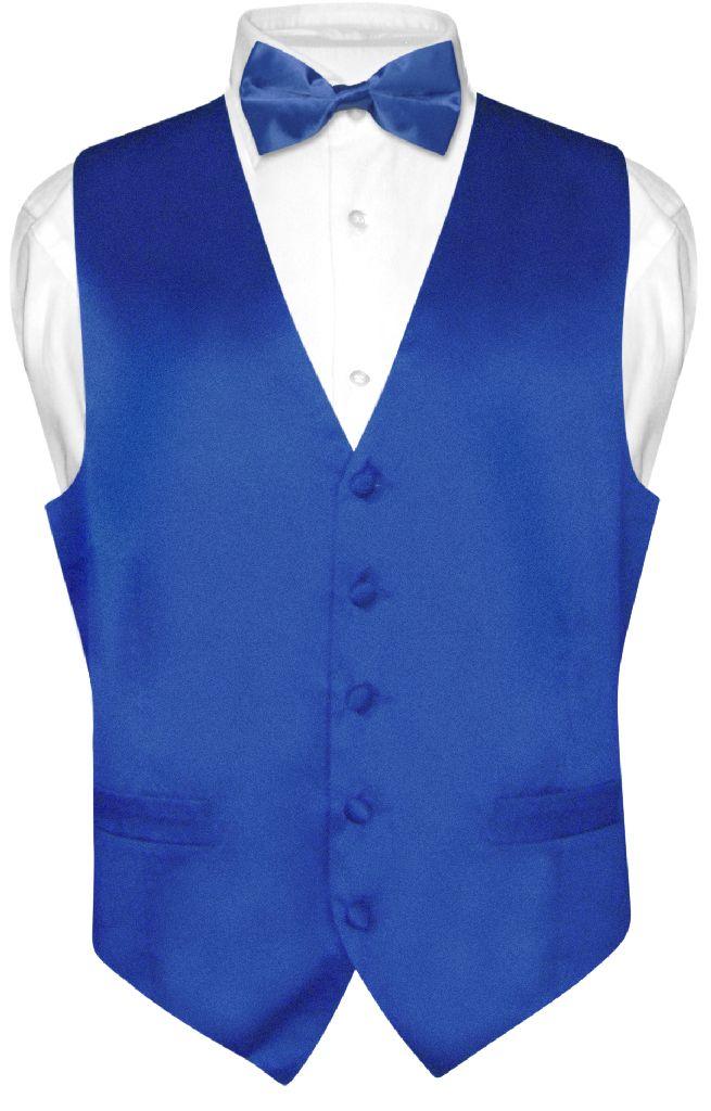 Biagio Mens Royal Blue Silk Dress Vest Bow Tie Set 2xl Ebay