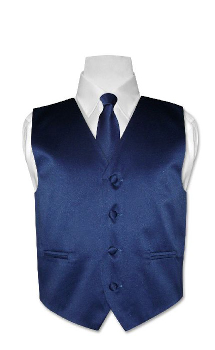Boys-DARK-BLUE-Dress-Vest-and-Boys-Necktie-Tie-Size-16