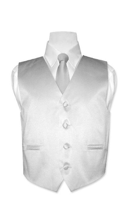Boys-GRAY-SILVER-Dress-Vest-Boys-Necktie-Tie-Size-16
