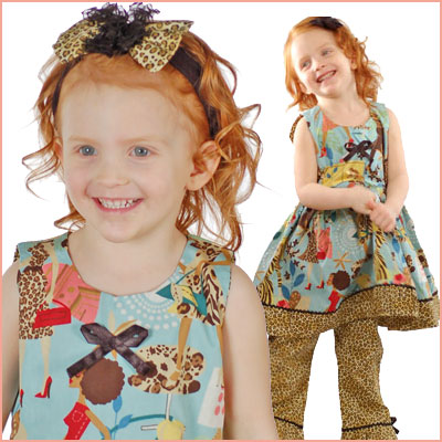 Click here for the Boutique Jungle Dress Set at Sophias Style girls clothing store.