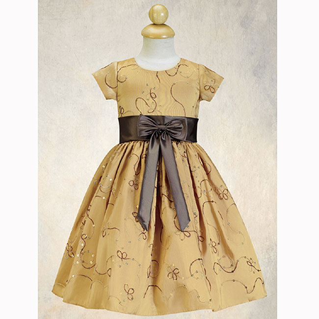 Girls Gold Christmas Dress pictures