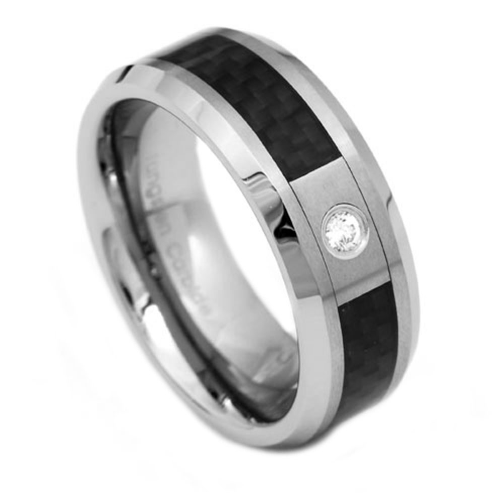 new carbon fiber cz tungsten ring mens wedding band ebay