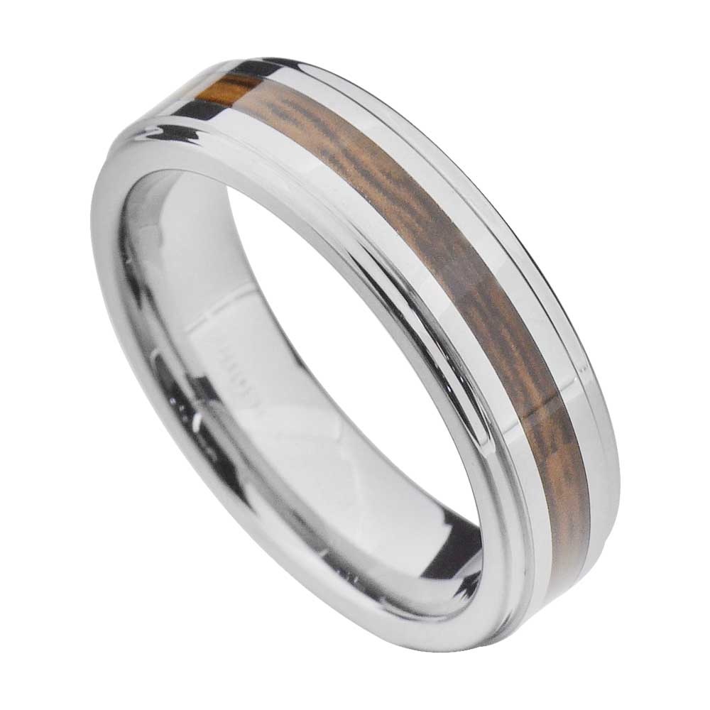 Male Wedding Bands Wood Inlay: New 6mm Wood Inlay Tungsten Mens Wedding Ring Size 5