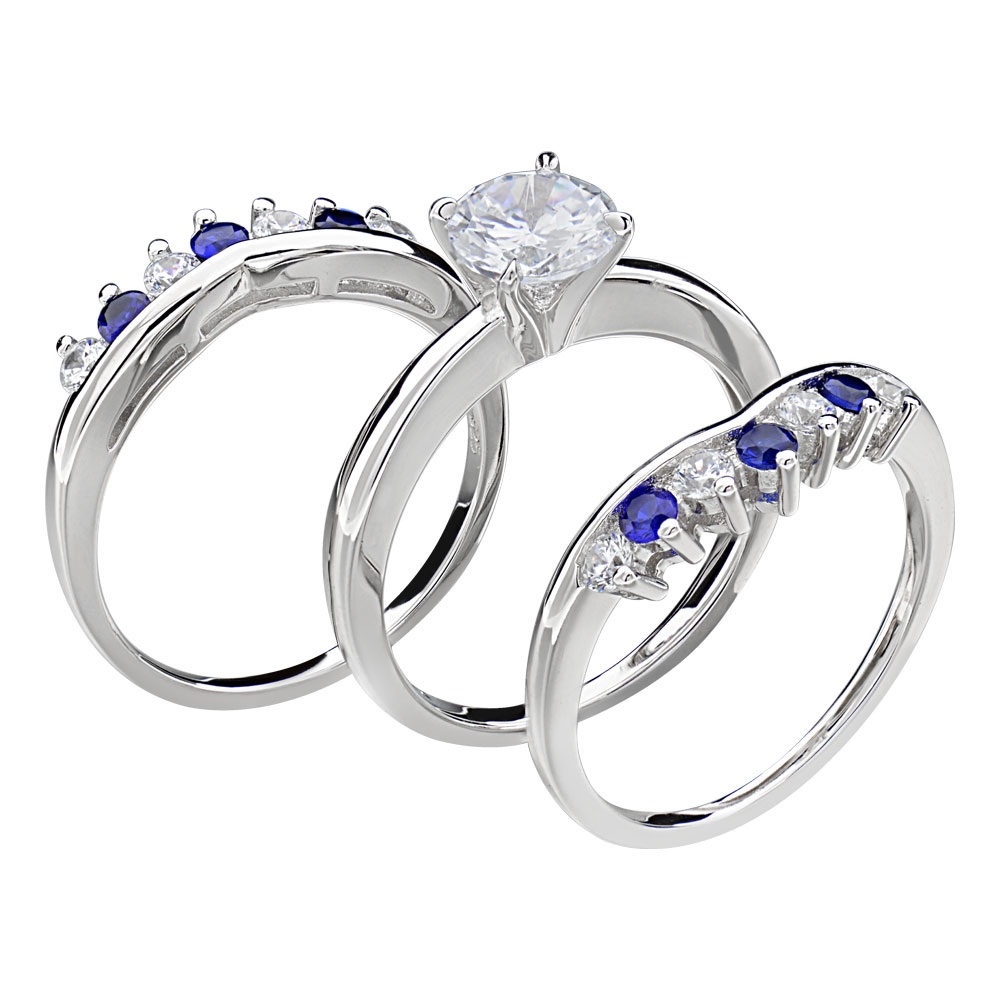 sterling silver round cz engagement wedding 3 rings set ebay