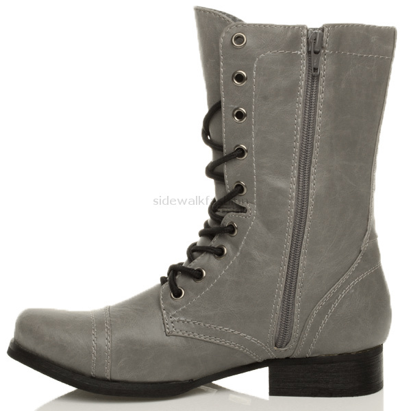 Lastest WOMENS MILITARY ARMY GREY STUDDED COMBAT BOOTS SIZE  EBay