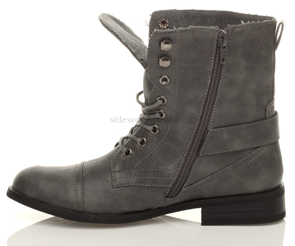 Original WOMENS GREY COMBAT MILITARY WORK ARMY BOOTS SIZE  EBay