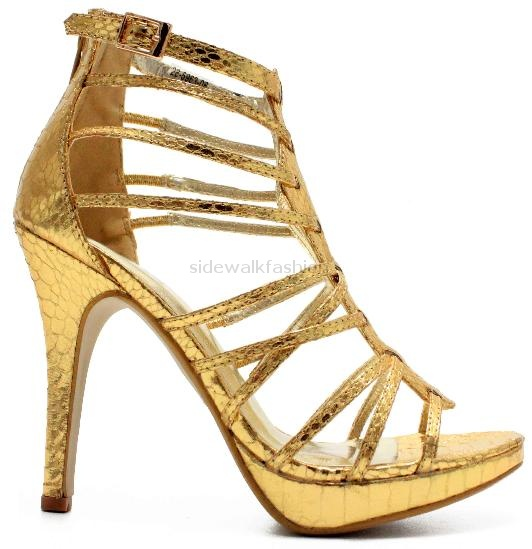 Gold Strappy Heeled Sandals Size 11