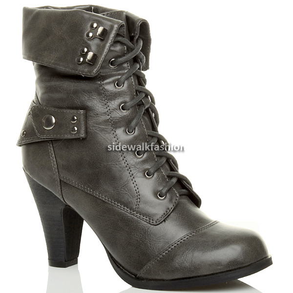 womens black combat army heel boots size ebay