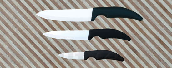 Ceramic Knife 3 Set with Bamboo Knife Block in white