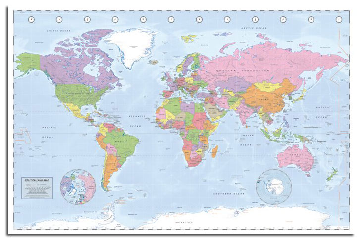 Large Political World Map Poster Miller Projection New