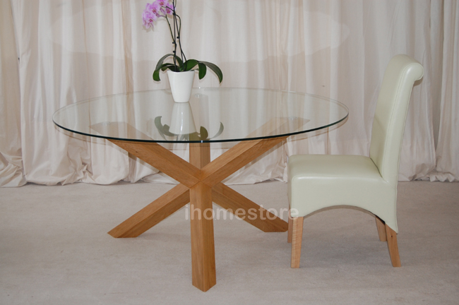 Dining Table Glass Dining Table Cross Legs