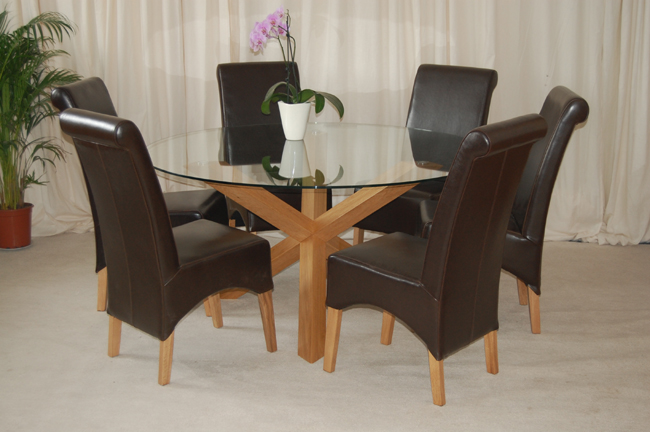 Trio 5 39 round solid oak glass dining table 6 chairs ebay for 6 seater dining room table and chairs