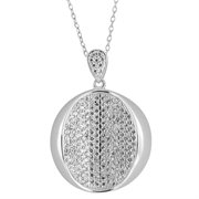 BS-HFP0328: Sterling Silver Cubic Zirconia Pave Circle Pendant 18&quot;