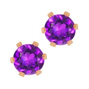 WRC-0036-RD-AM-PUR-RGPB: 0.90 Ct Round Shape Purple Amethyst Rose Gold Plated Brass Stud Earrings