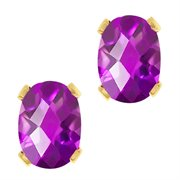 WRC-0047-OC-AM-PUR-YGPB: 1.50 Ct Oval Checkerboard Shape Purple Amethyst Yellow Gold Brass Stud Earrings