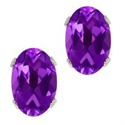 WRC-0043-OV-AM-PUR-SPB: 0.90 Ct Oval Shape Purple Amethyst Silver Plated Brass Stud Earrings