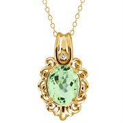 MEG-0150-OV-AM-GR-T-W-YG14K: 2.67 Ct Oval Green Amethyst and White Topaz 14k Yellow Gold Pendant