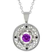 MEG-0140-RD-AM-PUR-DI-BLC-WG18K: 0.50 Ct Round Purple Amethyst and Black Diamond 18k White Gold Pendant