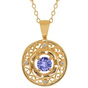 MEG-0140-RD-TZ-BL-DI-W-YG18K: 0.55 Ct Round Blue Tanzanite and White Diamond 18k Yellow Gold Pendant