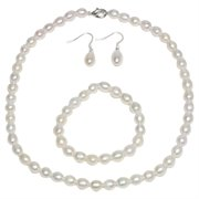 CC-ZZ-030: Genuine Freshwater White Pearl Necklace Bracelet & Earring Set