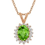 MEG-0248-OV-PE-GR-T-W-RPAS: 1.47 Ct Oval Green Peridot White Topaz Rose Gold Plated Sterling Silver  Pendant