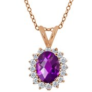 MEG-0248-OC-AM-PUR-DI-W-RG18K: 1.32 Ct Oval Checkerboard Purple Amethyst White Diamond 18K Rose Gold  Pendant