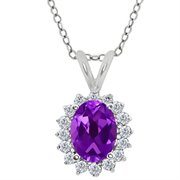 MEG-0248-OV-AM-PUR-DI-W-WG18K: 1.42 Ct Oval Purple Amethyst White Diamond 18K White Gold  Pendant