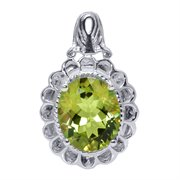 WRC-CHA-75-SILVER: 4.65 Ct Yellow Twilight Mystic Quartz Silver Pendant 12X10MM With Chain