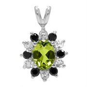 "WRC-CHA-90: 1.50 Ct Green Peridot Black Diamonds Silver Pendant with 18"" Silver Chain"