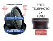2137-2LENS-T4223-&-WA3999-Panasonic: 72MM  2X Telephoto & 0.5X Tokina Wide Angle Lens 72MM