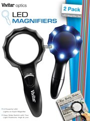 6064: HANDHELD LED MAGNIFIER 6X +7x (2 PACK) VIVITAR VIV-MAG-2, MEDIUM 50MM AND LARGE 65MM DIAMETER