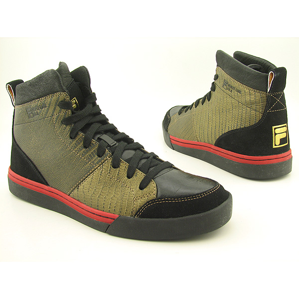 FILA M s White Line Mid Lace-Ups Gold Shoes Black Mens